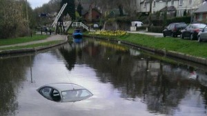 Car in canal