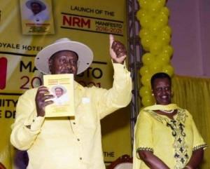 File Photo : Museveni ne mukyala we Janet nga kutte manifesito
