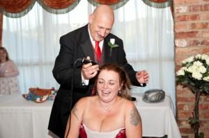 woman cuts off hair